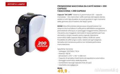 Macchina per caffe' con 200 capsule- spedizione gratuita